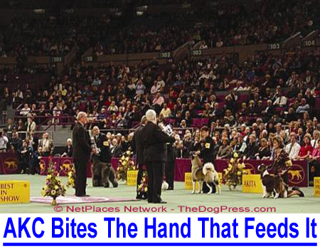 AKC BITES THE HAND THAT FEEDS IT! They sponsor the prestigious Westminster Dog Show but few know that AKC helps fund itself through what many call extortion.