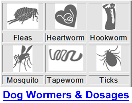DOG WORMERS & DOSAGE CHART: How to worm my dog? Which wormer is best? Symptoms of worms?  How to calculate dosage of Ivermectin, Nemex, Strongid, Panacur, Drontal, heartworm meds...