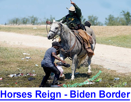 HORSES REIGN ON BODEN BORDER! We Texans have had border problems ever since Governor Austin claimed it in 1845 but our horse patrols can handle it so back off and worry about Chicago or Detroit!